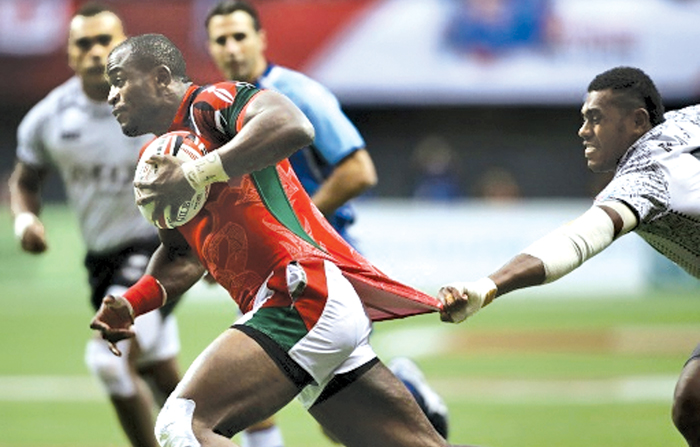 Kenya's Willy Ambaka made a perfect transition from sevens to the traditional form of the game when he put his country ahead with the first try after only four minutes of play.