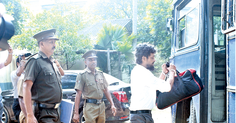 'Navy Sampath' taken to remand.  Picture by Saliya Rupasinghe