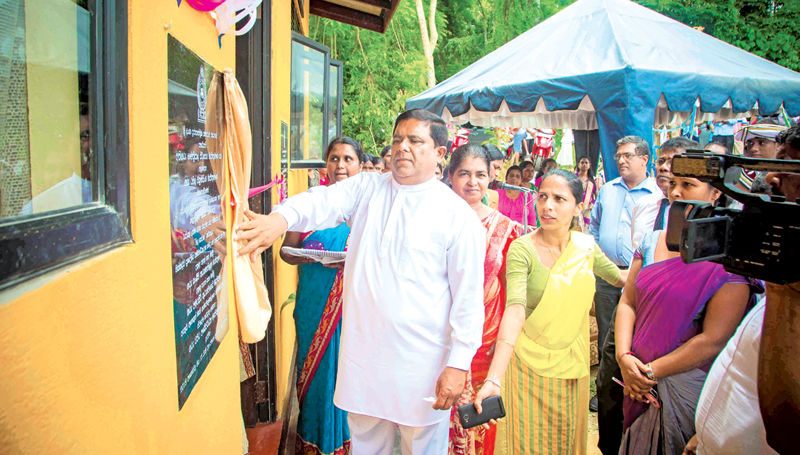 Home Affairs Minister Vajira Abeywardana opens the Nila Sevana Office at the Hikkaduwa Divisional Secretariat. Picture by Mahinda P.Liyanage