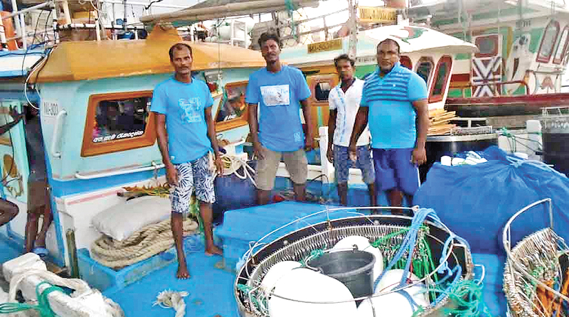 Some of the fishermen who were rescued.  Picture by Trincomalee Special Corr.