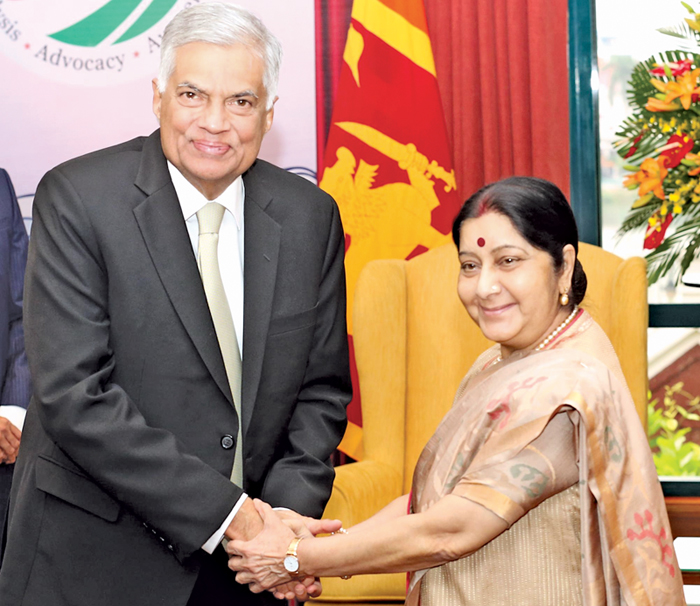 Prime Minister Ranil Wickremesinghe meeting Indian External Affairs Minister Sushma Swaraj on the sidelines of the two-day Indian Ocean Conference 2018 at the Sheraton Hotel in Hanoi, Vietnam yesterday.