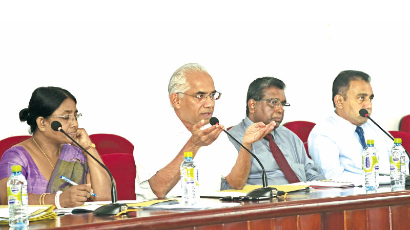 State Finance Minister Eran Wickramaratne held discussions with officials at the Moneragala Kachcheri about the  National Exhibition on Gamperaliya Project. File Photo