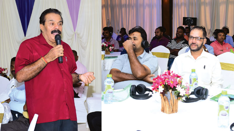 Commissioner of Inland Revenue Department  Bandula Haputhanthrige addressing the gathering  and a cross section of the audience.