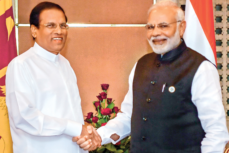 President Maithripala Sirisena and Prime Minister of India Narendra Modi held bilateral talks in Kathmandu, Nepal on the sidelines of the Bay of Bengal Initiative for Multi-Sectoral Technical and Economic Cooperation summit. Picture by Sudath Silva