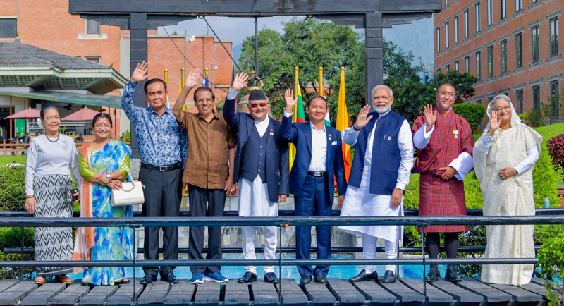 BIMSTEC leaders at the reception held at the Crowne Plaza Hotel in Kathmandu yesterday. Pictures by Sudath Silva