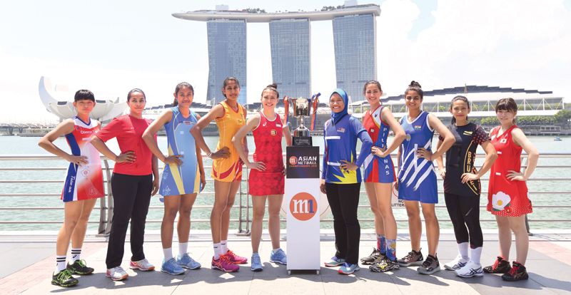The captains of the teams participating in the M1 Asian Netball Championships