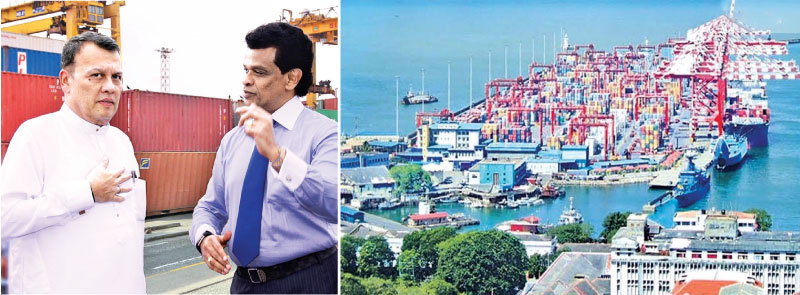 Minister of Ports and Shipping Mahinda Samarasinghe and Chairman of Sri Lanka Ports Authority (SLPA) Dr. Parakrama Dissanayake on a visit to inspect operations at the Jaya Container Terminal (JCT) of SLPA