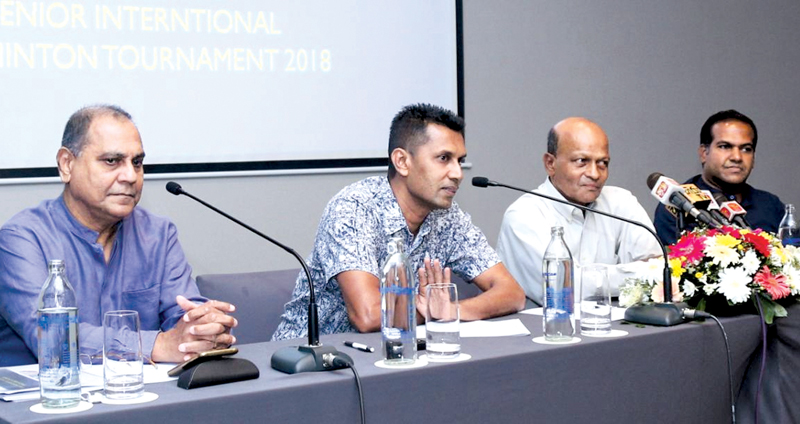 A press conference was held in Colombo regarding the Senior International Badminton Tournament (From left) Deputy Tournament Director, Trevor Reckerman, secretary of CMBA Clarence Homer, Tournament Director, Ajith Wijesinghe and Committee member Thanuja Liyanage