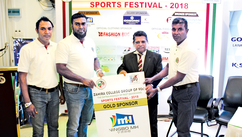 Main Sponsor MH Industries Corporation Limited China (Sri Lanka Dealar) M.T.M. Mihan presenting the sponsorship to Principal Trizviiy Marikkar.   President Group of 90 M.R.A. Razak and Past President M.M. Shiraz were also present.