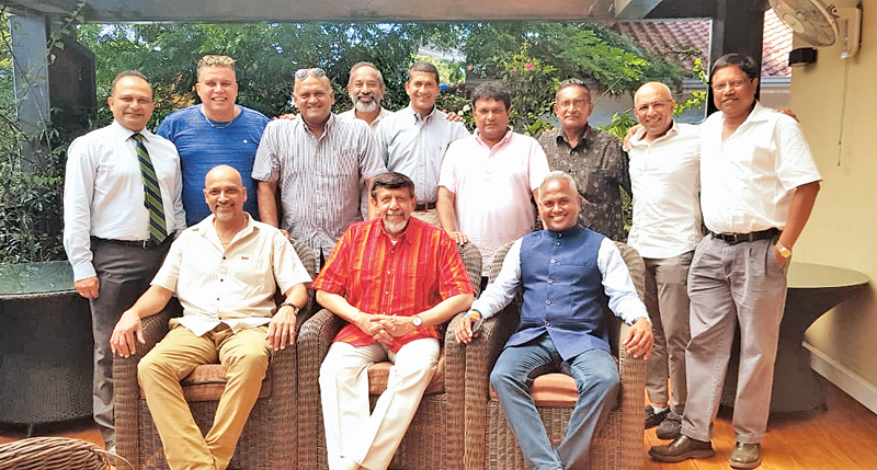 Seated (from left): Athula Samarasekera, S. Skandakumar (captain), Kushil Gunasekera. Standing (from left): Ashley de Silva, Wayne Jansz, Dushan Soza, Shivaraj, Channa Wijemanne, Sudath Munaweera, Rajapakse, Chandika Hathurusingha, Lakshman Aloysius. Absent: Indrajit Coomaraswamy (overseas), Upul Sumathipala (overseas), Nirmalal Perera (USA), Walter Fernando and Upul Gunasena (both Australia), Shantha Jayasekera (Canada). A.J Samarasekera (indisposed).NB: A floating fund was inaugurated at the get-to-gether