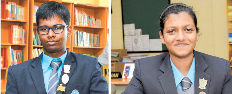 Head Boy of Lyceum Panadura Sanuda Ranawake & Head Girl of Lyceum Panadara Dinithi Perera. Pictures by Sarath Peiris