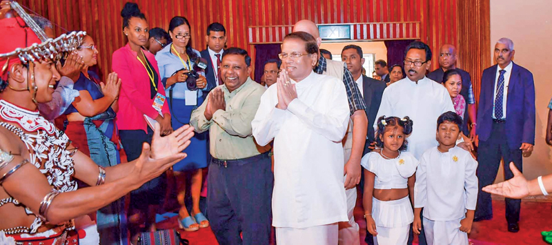 President Maithripala Sirisena is welcomed by the Sri Lankan community in the Seychelles. Picture courtesy President's Media Division