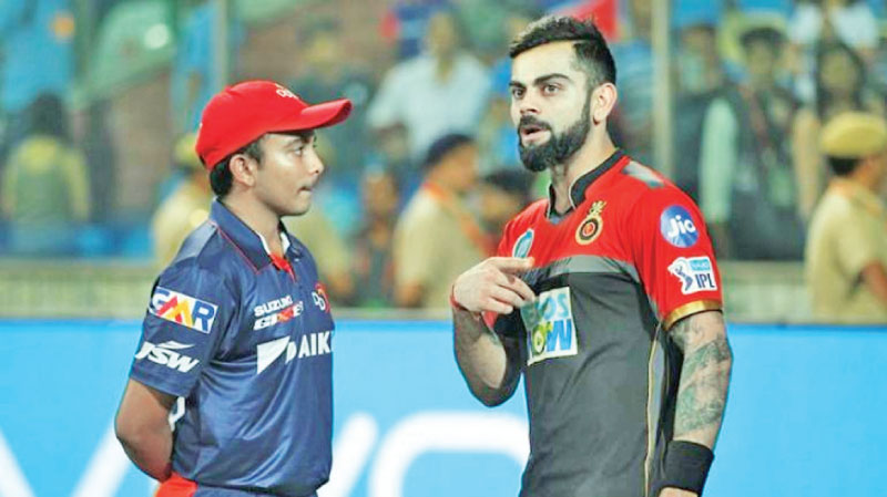 Indian captain Virat Kohli in conversation with teenage superstar Prithvi Shaw.