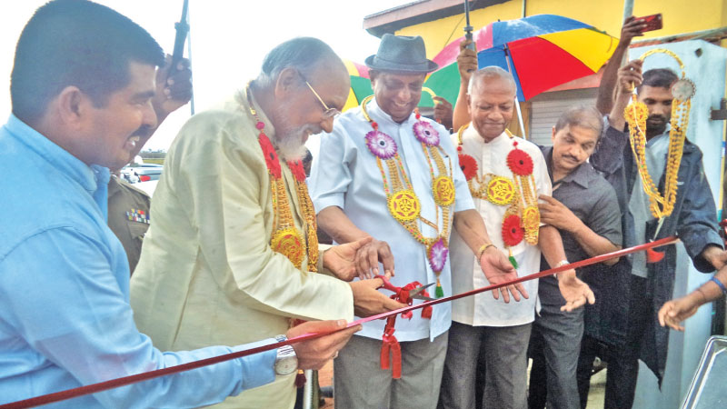Tourism Development and Christian Affairs Minister John Amaratunga and Northern Province Chief Minister C.V. Wigneshwaran open the Comfort Centres