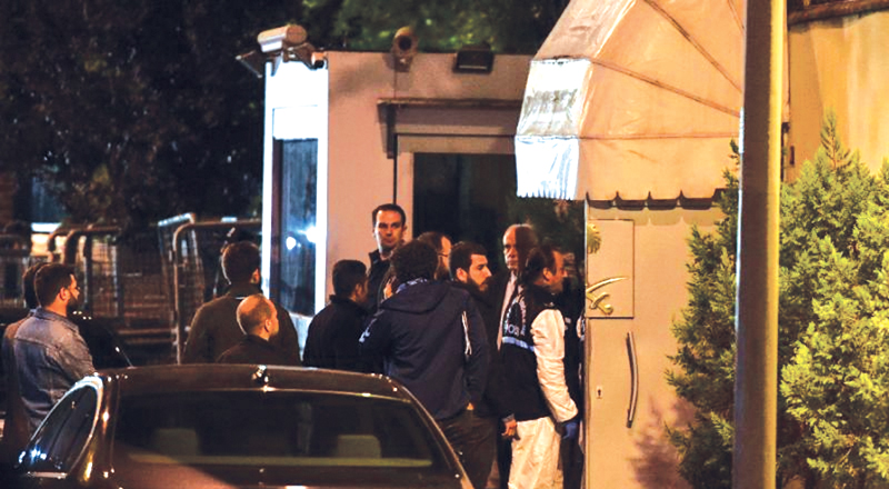 Turkish police and other officials enter Saudi Arabia's consulate in Istanbul to search the premises in the investigation over missing Saudi journalist Jamal Khashoggi.