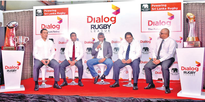 Rizly Iliyas, Deputy President, Sri Lanka Rugby, Harsha Samaranayake, General Manager – Brand and Media, Dialog Axiata PLC, Hon. Faiszer Mustapha MP, Minister of Provincial Councils, Local Government and Sports, Lasitha Gunaratne, President, SLR and Thusitha Peiris, Hon. Secretary, SLR.