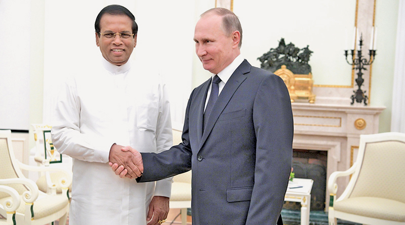 Russian President Vladimir Putin with President Maithripala Sirisena at the Kremlin.