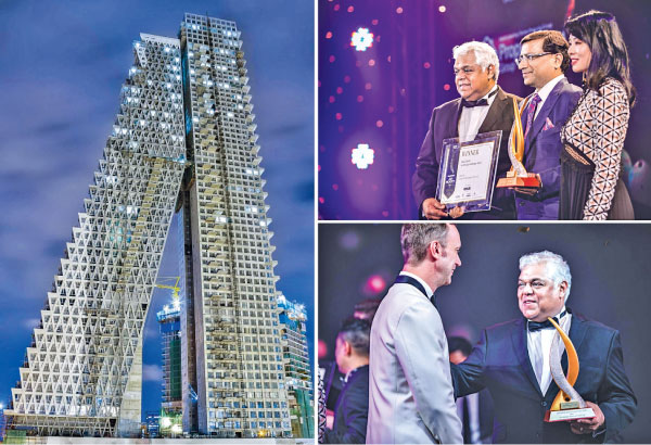 The award-winning Altair twin tower and (top right) Altair Directors Jaideep Halwasiya and Pradeep Moraes receive the award from Lim Wenhui, Partner, SPARK Architects and Head Judge at the Asia Property Awards, Singapore, (bottom right) Altair Director Pradeep Moraes with Terry Blackburn, Managing Director, Asia Property Awards and Property Report of PropertyGuru