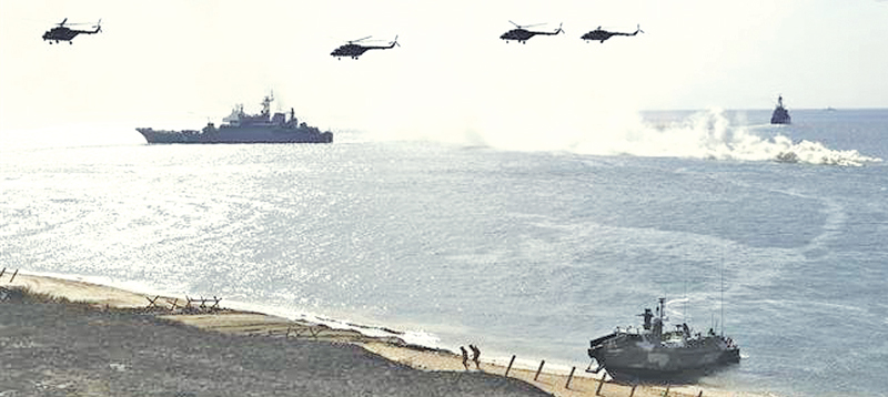 Russian ships and helicopters in The Sea of Azov which is linked by the narrow Strait of Kerch to the Black Sea.