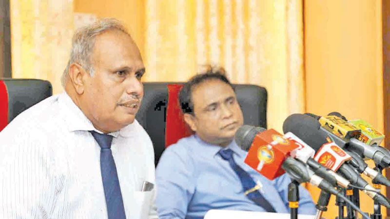 Railway Department GM Dilantha Fernando speaks at the press conference yesterday. Picture by Rukmal Gamage