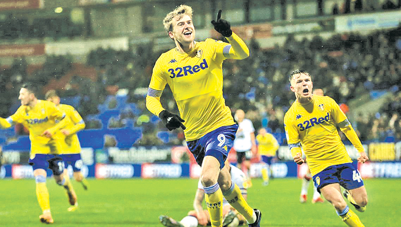 Patrick Bamford celebrates his first league goal for Leeds in their 1-0 win over Bolton.