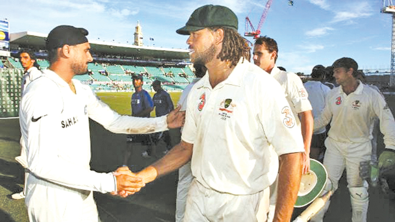 Harbhajan Singh and Andrew Symonds shake hands after the controversial Test at the SCG in 2008.
