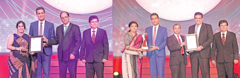 HNB Chief Financial Officer, Anusha Gallage accepting the Silver Award in the Banking Institutions category from Heshana Kuruppu, Chairman of the Annual Report Awards Committee 2018, Yohan Perera, Past President of The Institute of Chartered Accountants of Sri Lanka and Prasanna Liyanage, Secretary of The Institute of Chartered Accountants of Sri Lanka look on. HNB Deputy General Manager, Legal/Company Secretary, Thushari Ranaweera accepting the Silver Award for Corporate Governance Disclosure from Heshana