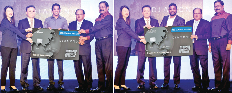 Deputy General Manager, UnionPay Hong Kong, Michelle Shao, Vice President, UnionPay International, Larry Wang, Commercial Bank Chairman, Dharma Dheerasinghe and Commercial Bank Managing Director, S. Renganathan presenting the first two UnionPay cards issued in Sri Lanka to  Keshav Balasuriya and Tharanga Weerawardena.