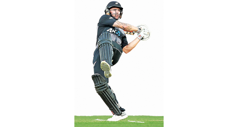 Doug Bracewell of New Zealand hitting a shot during the twenty20 international cricket match against Sri Lanka at Eden Park in Auckland on Friday. AFP