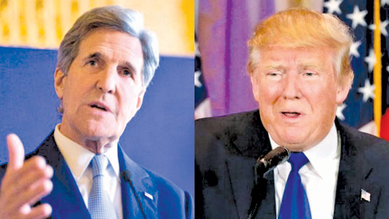 Former US Secretary of State John Kerry and US President Donald Trump.