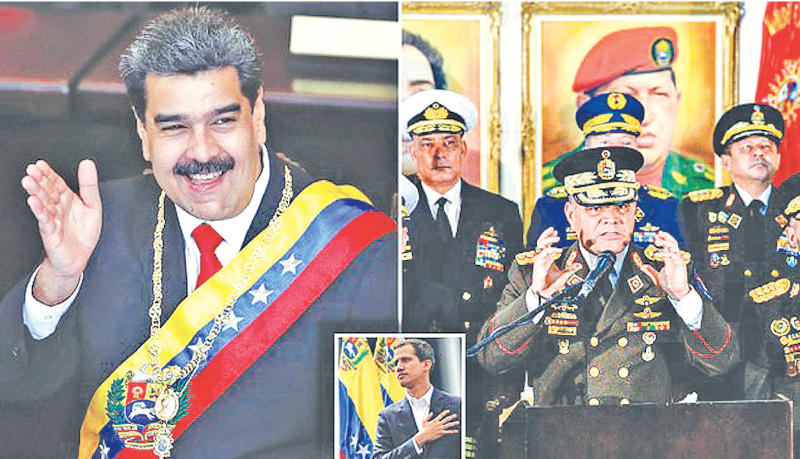 Venezuelan President Nicolas Maduro (L) Members of the top military brass and Venezuela's National Assembly President Juan Guaidó (Inset).