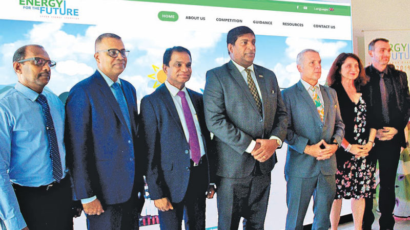 Speakers and Partners at the launch of the GIZ Green Energy Champion 2019 Eng. Ranjith Sepala  DG Sri Lanka Sustainable Energy Authority, Ranga Pallawala  CEO, Janathakshan, Dr. B.M.S. Batagoda Secretary, Ministry of Power, Energy and Business Development, Ravi Karunanayake, Minister of Power, Energy and Business Development, Jörn Rohde, German Ambassador, Randa Kourieh  Ranarivelo GIZ Country Director, Daniel Schreiber Head of Project, GIZ.