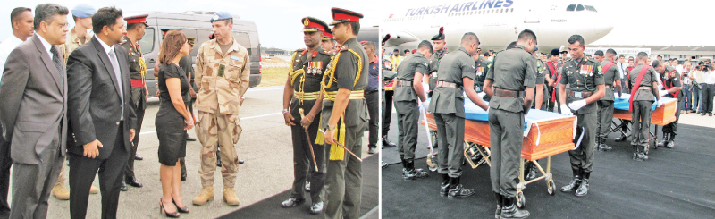 The coffins carrying the  remains Major H.W.D. Jayawickrama and Sergeant S.S. Wijekumara who made the supreme sacrifice while serving the UN Peacekeeping Mission in Mali (MINUSUMA) were brought to  Sri Lanka yesterday evening.  State Defence Minister Ruwan Wijewardene, Army Commander Lt. Gen. Mahesh Senanayake, UN Resident Coordinator  Hanaa Singer and MINUSMA Force Commander Lieutenant General Dennis Gyllensporr were present at the BIA, Katunayake. Picture by Kumarasiri Prasad, Airport Correspondent