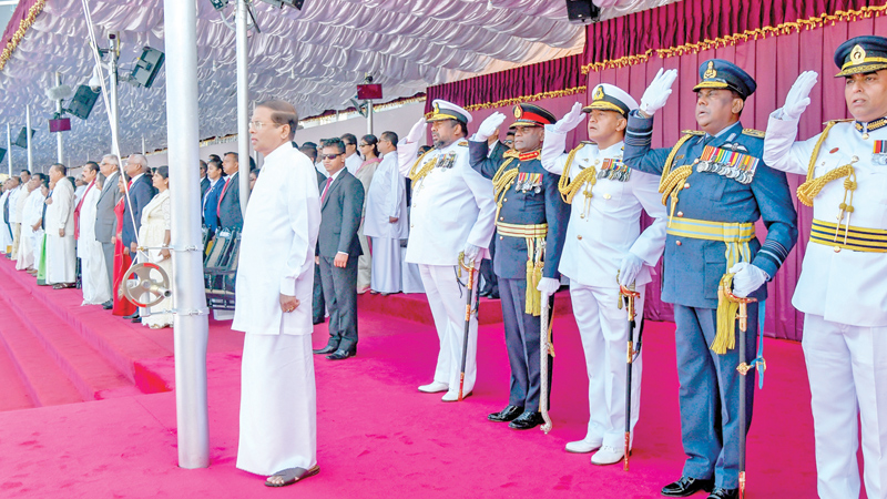 President Maithripala Sirisena views the March Past.