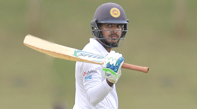 Angelo Perera acknowledging his century for Sri Lanka 'A' against Ireland 'A' in the first unofficial test at Hambantota.