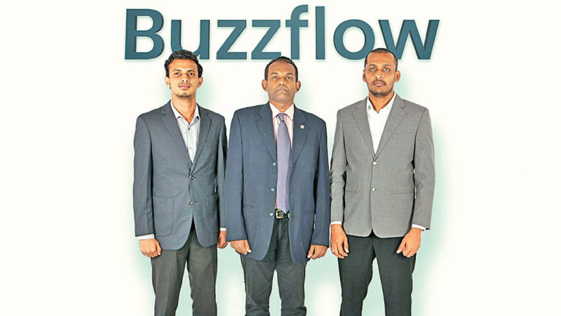 From Left Buzzflow CRM Sales Consultant Azaam Marikar, COO Surajee Ratnayake, Software Architect Manoj Wijesundara