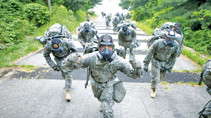 US soldiers at Camp Stanley in Uijeongbu, South Korea.