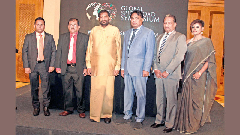 Minister Daya Gamage with officials at the soft launch of 'the Global Spice Road Symposium. Picture by Chaminda Niroshan