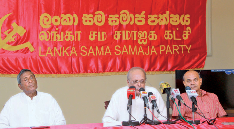 LSSP leader Prof. Tissa Vitharana speaks at the media conference. Picture by Kelum Liyanage