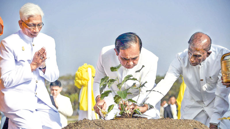 A Sapling of the Sacred Jaya Sri Maha Bodhi was presented to Thailand's King Maha Vajiralongkorn in view of  the coronation of Thailand's King Maha Vajiralongkorn with the greetings of President Maithripala Sirsiena. Picture shows Prime Minister of Thailand Prayut Chan-o-cha and Buddhasasana Minister Gamini Jayawickrema Perera planting the sapling at the Wajiradhammarama Temple in Ayutthaya city. Picture courtesy President's Media Unit . See page 02
