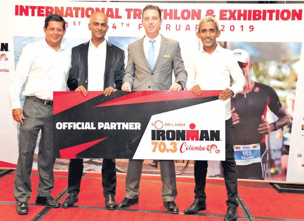 Ironman organizers Julian Bolling,  Rajan Thananayagam, Director of Sales and Marketing for Shangri-La Hotel, Colombo Chris McFall  and Ironman organizer Yasas Hewage.