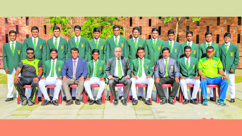 Isipathana cricket team with officials
