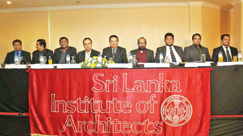 Sri Lanka Institute of Architects officials at the launch event in Colombo