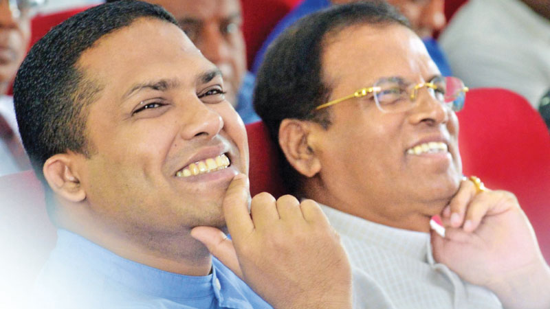 Telecommunication, Foreign Employment and Sports Minister Harin Fernando with President Maithripala Sirisena at the opening of new SLADA building in Colombo.