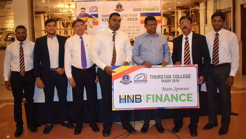A press conference in connection with the Thurstan College, Colombo Rugby Launch 2019 sponsored by HNB Finance was held at the Kingsbury Hotel, Colombo on Wednesday. Here B.M.D.C. Prabath, Managing Director/CEO – HNB Finance handing over the sponsorship cheque to Sandun Saman Kumara, Functional Secretary Rugby – Old Boys Union. Others present (from left): Sasanka Ariyaratne - Assistant Coach, Rohitha Rajapaksa – Rugby Consultant and Head Coach, Noel Joseph, Advisor – Thurstan Rugby Club, Lakshman Dias, Prin