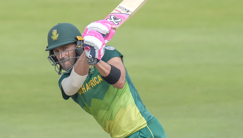 South African captain Faf du Plessis plays a shot during the first one day international (ODI) cricket match against Sri Lanka at the Wanderers Stadium, Johannesburg, on Sunday. - AFP