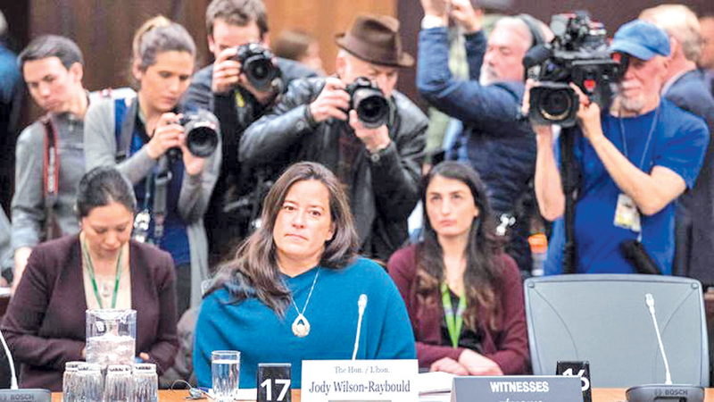 Former Canadian Justice Minister Jody Wilson-Raybould giving her testimony about the SNC-Lavalin affair on Parliament Hill in Ottawa on February 27, 2019.