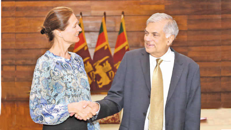 Prime Minister Ranil Wickremesinghe greets Norwegian State Secretary Marianne Hagen. Picture by Saman Wedage