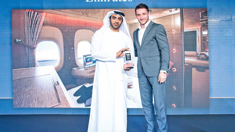 Khalid BelJaflah, Emirates' Divisional Vice President Commercial Operations UAE and Oman, received the 'Favourite Middle East Airline, Premium Cabin' award on behalf of the airline, at the prestigious Conde Nast Middle East Reader's Choice Awards.