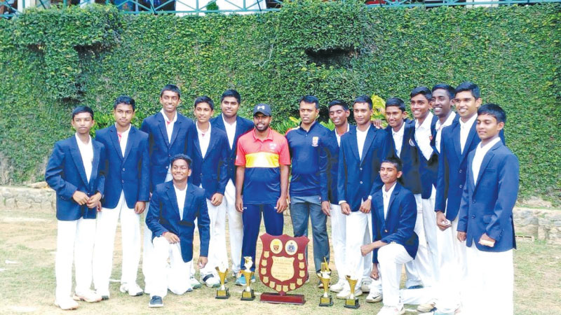 "Trinity college ""A"" team is seen here after they beat St. Anthony's College ""A"" team by six wickets in the mini battle."
